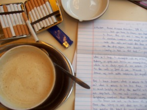 photo of mug, poem, & smokes courtesy of Rachel Richardson