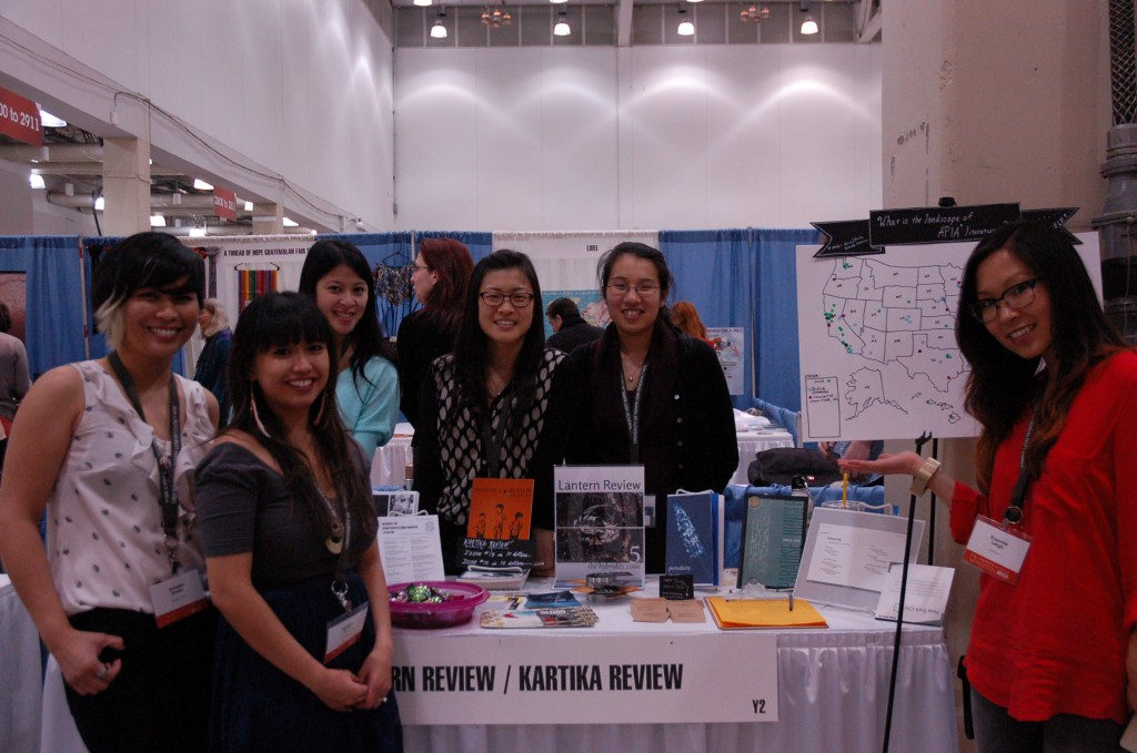 Mia and I tabling with our APIA lit mag colleagues at AWP 2013.