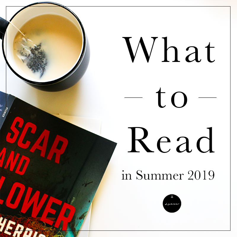 "Photograph of a black mug containing milky tea and a copy of Lee Herrick's SCAR AND FLOWER lying open on its front (with the cover up—showing large, red-and-white, sans-serif display type on a dark background). The words ""What to Read in Summer 2019"" and the Lumen logo (a black circle with a white, hanging line-drawing of a pendant lamp and the word ""Lumen"" in white script font) take up the right side."