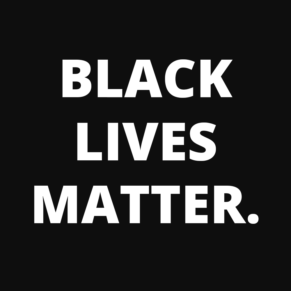 "Black square with white text reading, in all caps, ""BLACK LIVES MATTER."""