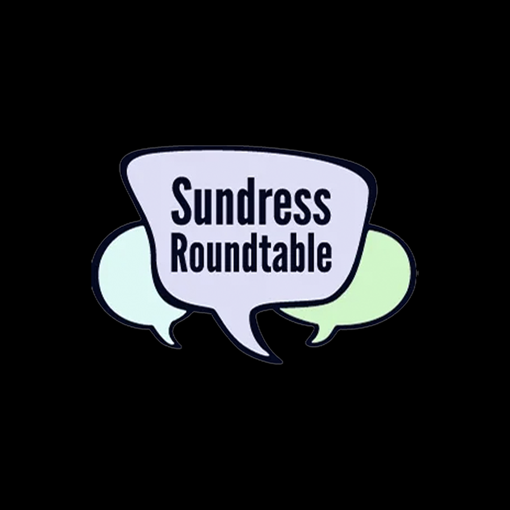 "Sundress Roundtable logo: three cartoon speech bubbles of different shapes—one pale blue, one pale purple, and one pale green—with the words ""Sundress Roundtable"" overlaid on the foremost (purple) bubble."