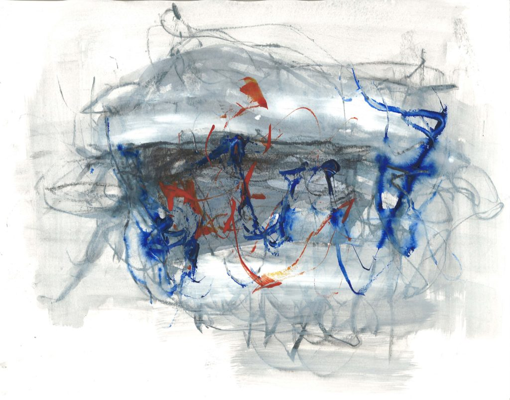 """""""Flight,"""" painting by Suiren (Dempster's mother). Abstract painting featuring a loose, light gray wash overlaid with red and blue brushstrokes, all on a white ground."""